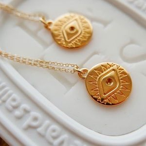 Jewelry - Elena Golden Evil Eye Coin Necklace
